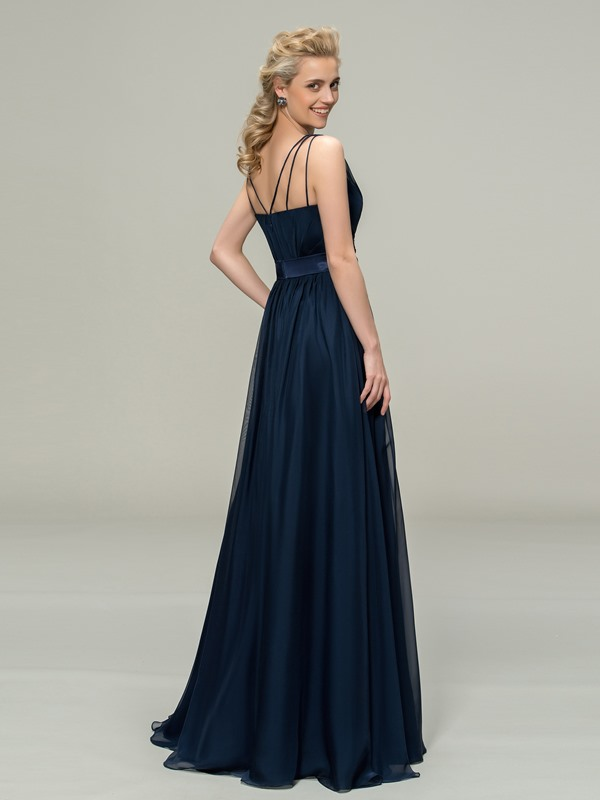 V-Neck Straps Floor Length A-Line Bridesmaid Dress(Free Shipping)