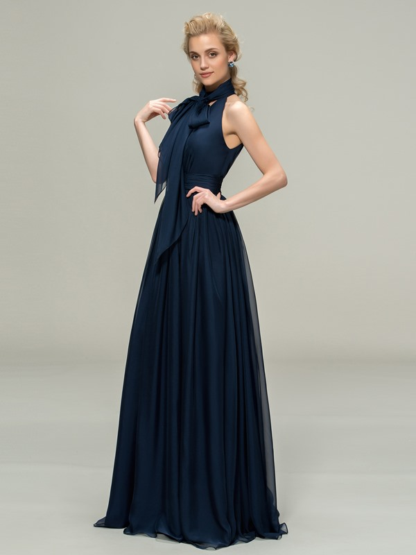 High Neck Sleeveless A-Line Blue Long Bridesmaid Dress