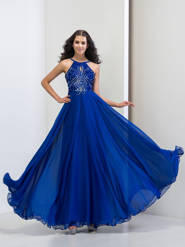 Modern Spaghetti Straps Sequins Beaded A-Line Long Prom Dress