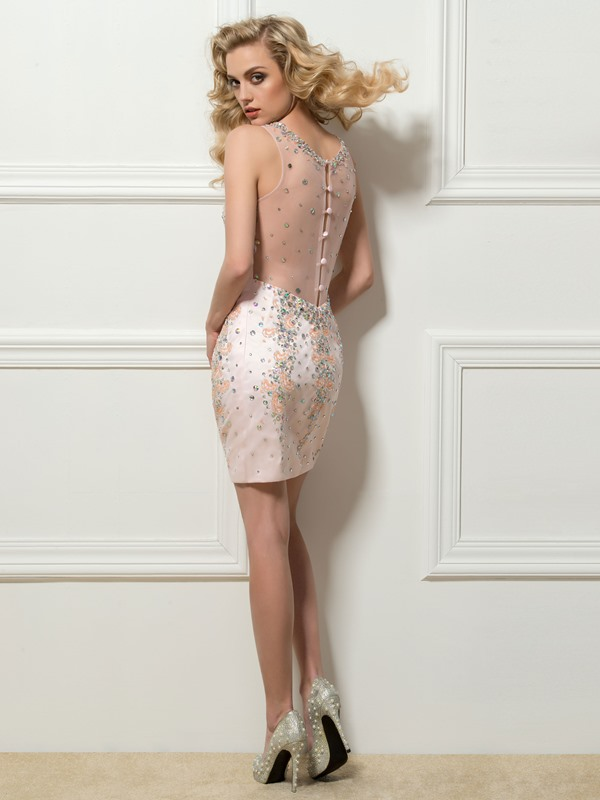 Great Round Neck Sheath Beading Crystal Button Short Cocktail Dress