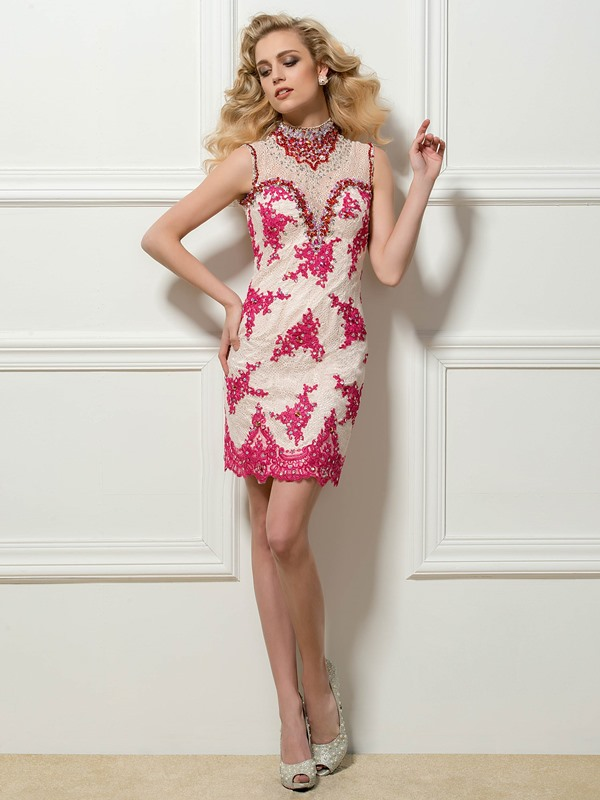 Dazzling High Neck Sheath Lace Beading Appliques Short Cocktail Dress