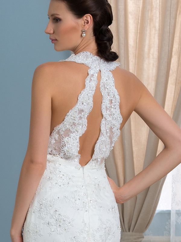 Sexy Deep V-Neck Open Back Lace Mermaid Wedding Dress