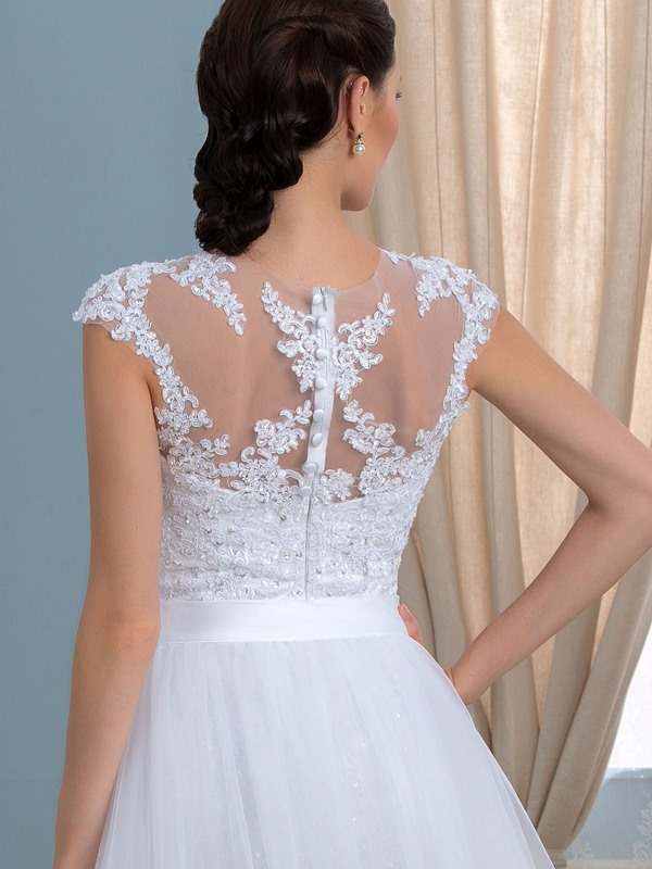 Two-In-One A-Line Crystal Lace Tulle Beach Wedding Dress
