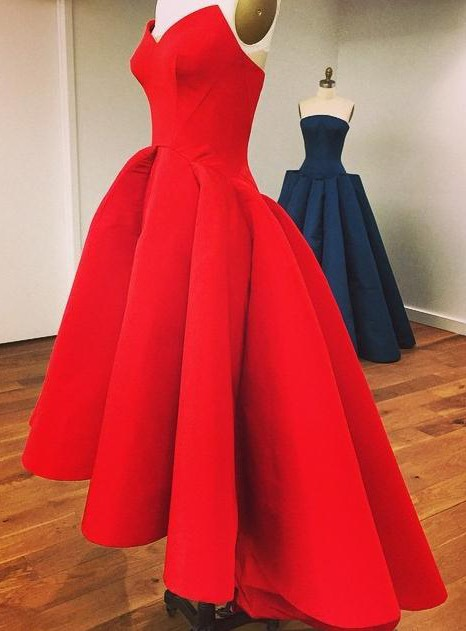 Real Pictures Strapless A-Line High Low Red Prom Dress