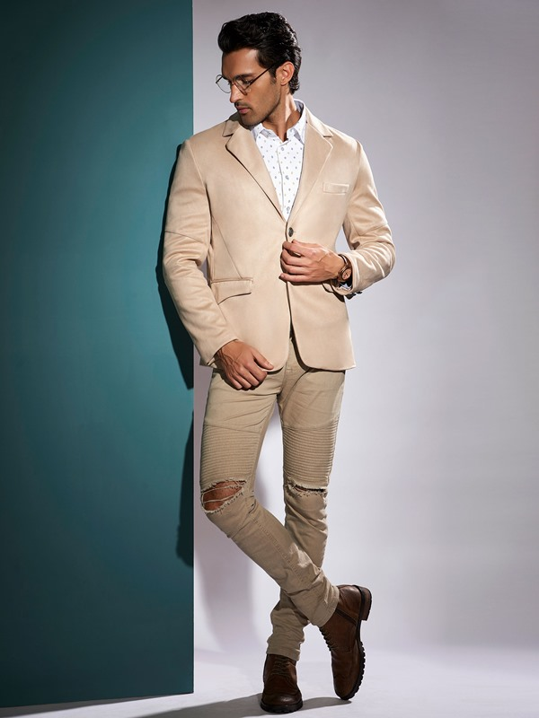 Plain Two Button Leisure Men's Blazer