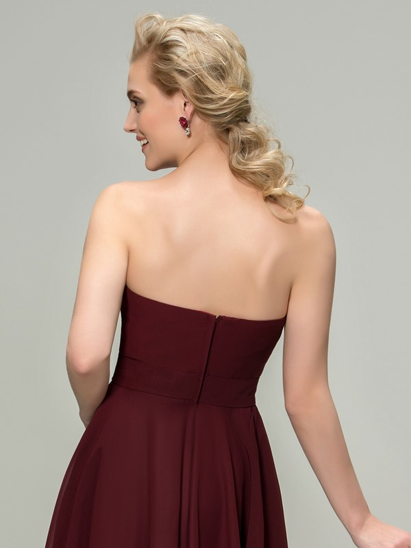 Cute Strapless Short A-Line Zipper-up Bridesmaid Dress