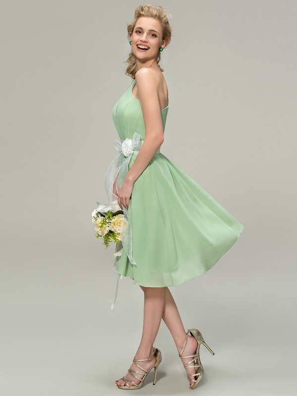 One-Shoulder Short A-Line Bridesmaid Dress with Flower Sash