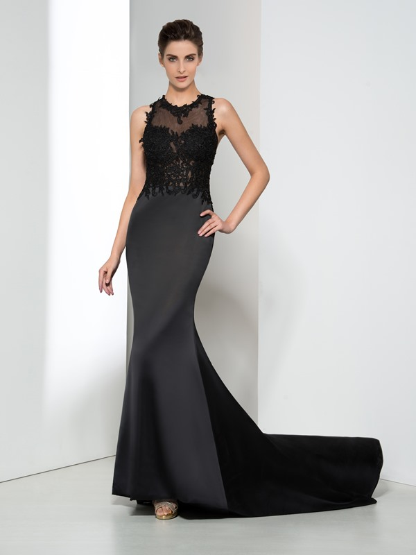 Sexy Jewel Neck Appliques Hollow Black Evening Dress