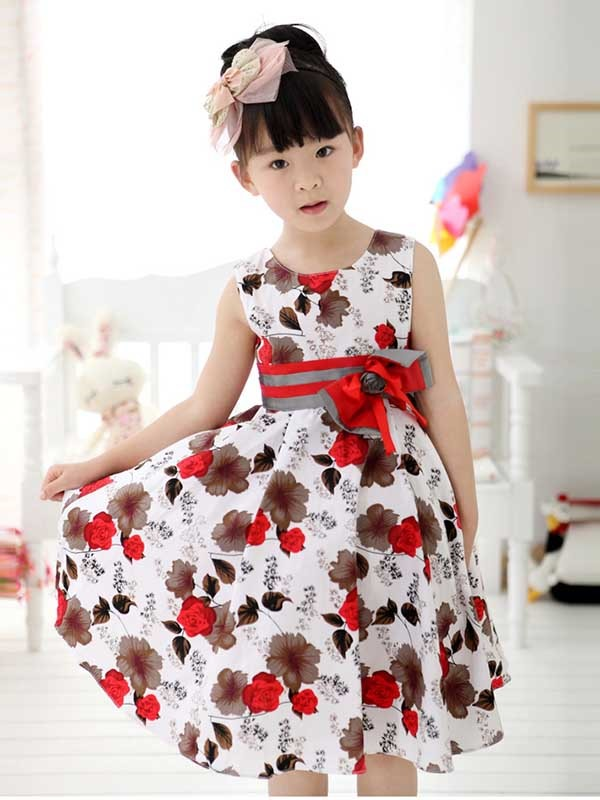 Red Floral Print Bowknot Decorated Girl's Dress