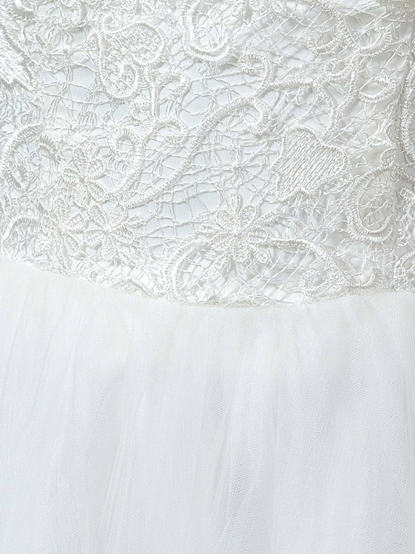 Off-The-Shoulder Tulle Lace A-Line Asymmetry Ankle-Length Wedding Dress