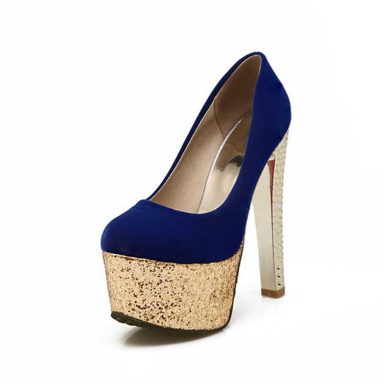 Sequins Chunky Heel Platform Prom Shoes