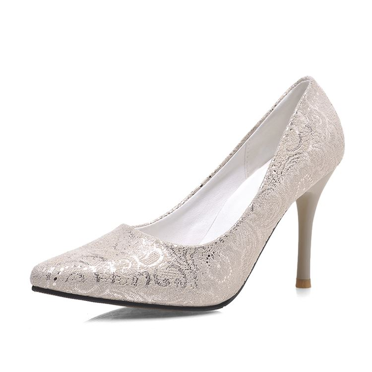 New Glitter Pointed Toe Solid Color Pumps