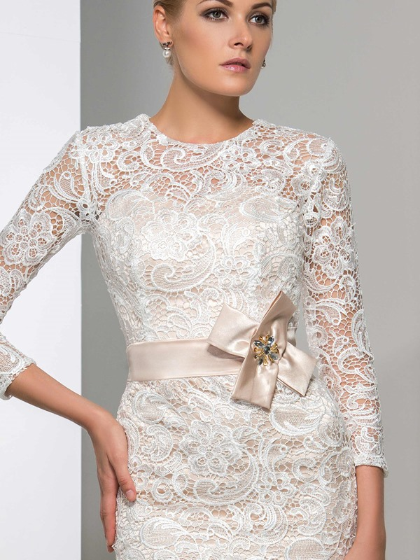 3/4 Sleeves Column Knee-Length Lace Cocktail Dress(Free Shipping)