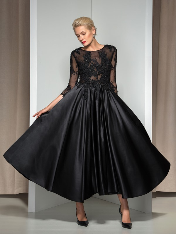 Modern Appliques Sequined 3/4-Length Sleeve Tea-Length Evening Dress(Free Shipping)