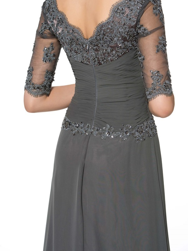 Half Sleeve Appliques A-Line Mother of the Bride Dress