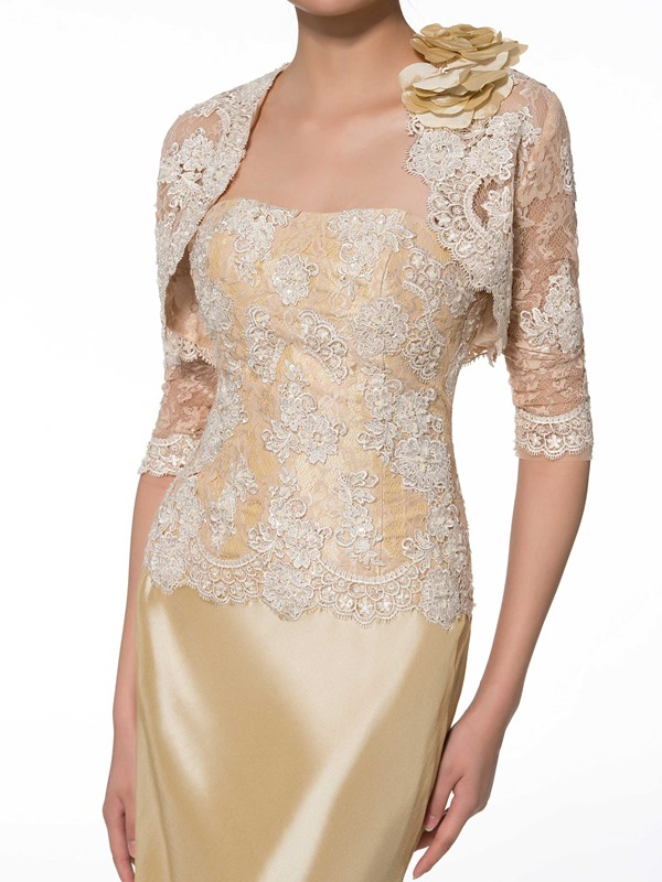 Strapless Lace Mother of the Bride Dress with Half Sleeve Jacket