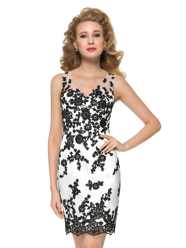 Modern Embroidery Lace V-Neck Short Mother of the Bride Dress