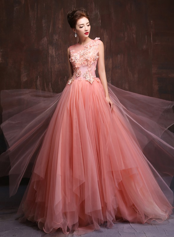 Tidebuy Trendy Tulle Neck Appliques Pearls A-Line Quinceanera Dress