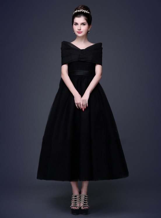 Tidebuy Timeless Straps Bowknot A-Line Lace-up Tea-Length Prom Dress(Free Shipping)