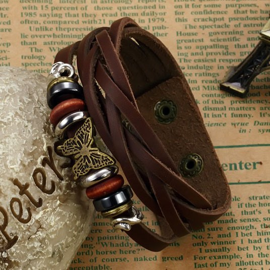 Butterfly Decorated Solid Color Bracelet