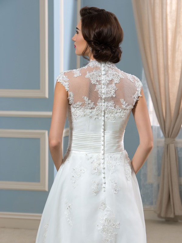 High Neck Appliques Ankle-Length Wedding Dress