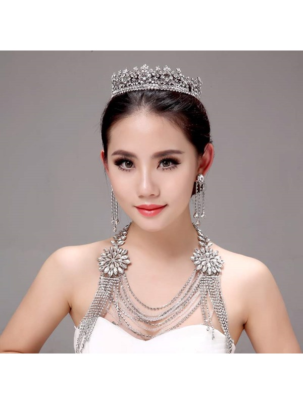 Classy Alloy Wedding Jewelry Sets (Including Tiara, Earrings, and Necklace)
