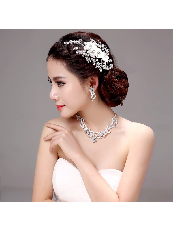 Shiny Crystal Pearl Alloy Wedding Jewelry Sets (Including Hair Flower, Earrings, and Necklace)