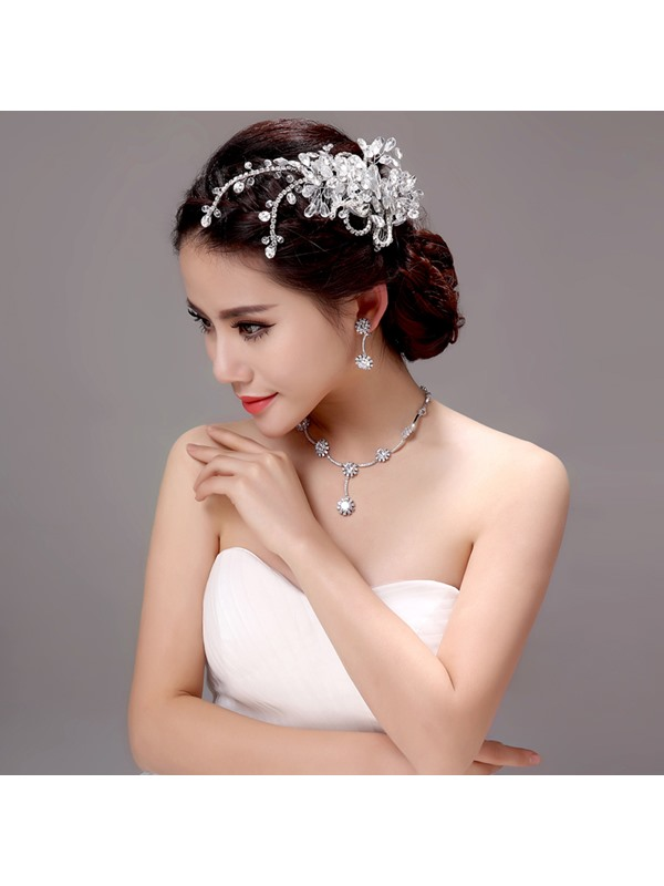 Shiny Rhinestone Zircon Wedding Jewelry Sets (Including Hair Flower, Earrings, and Necklace)