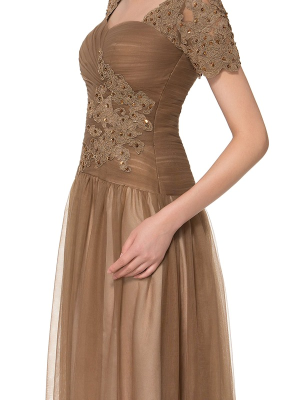 Short Sleeves Beading Appliques Mother of the Bride Dress