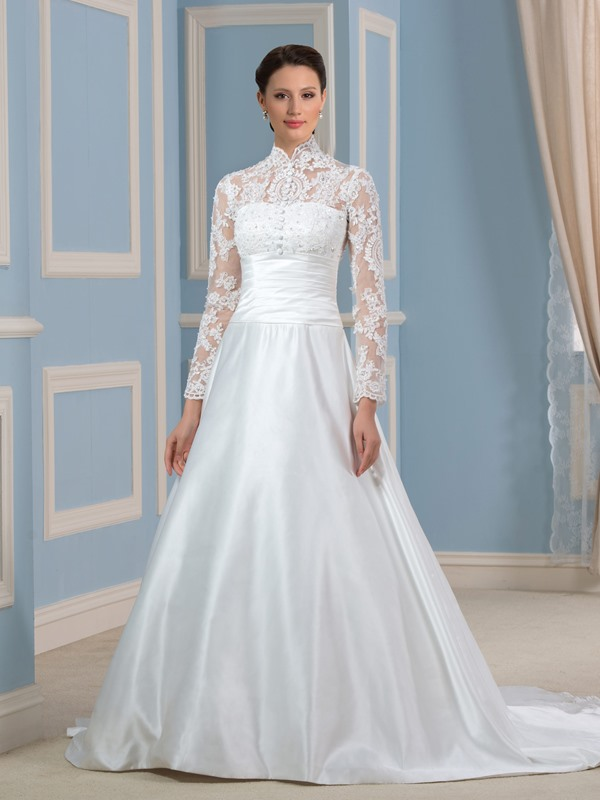 High Neck Long Sleeve Vintage Wedding Dress