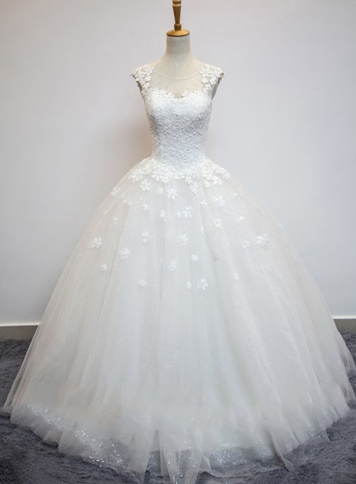 Gorgeous Sheer Lace Jewel Neck Princess Wedding Dress