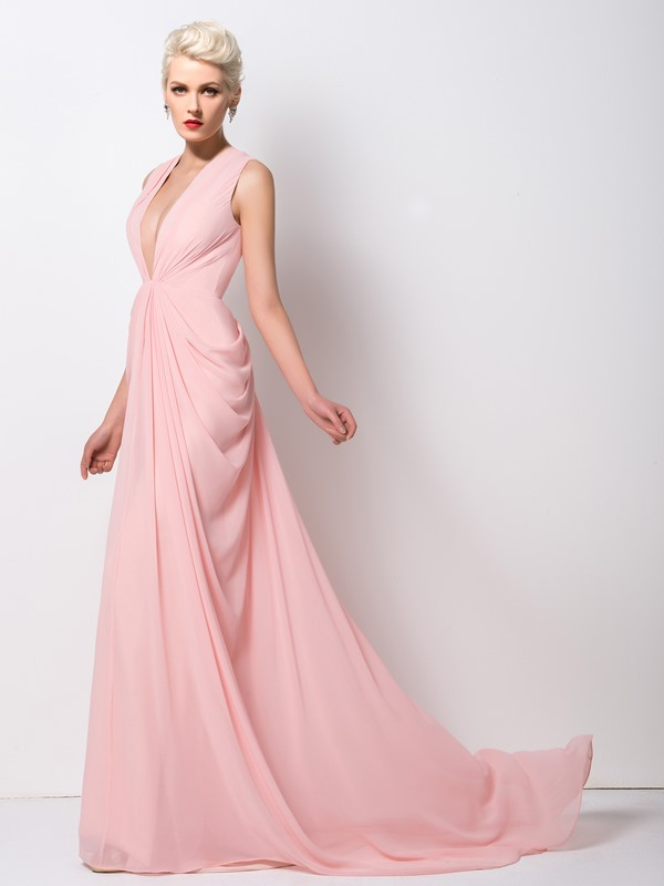 Deep V-Neck Draped Sweep Train Long Evening Dress Designed