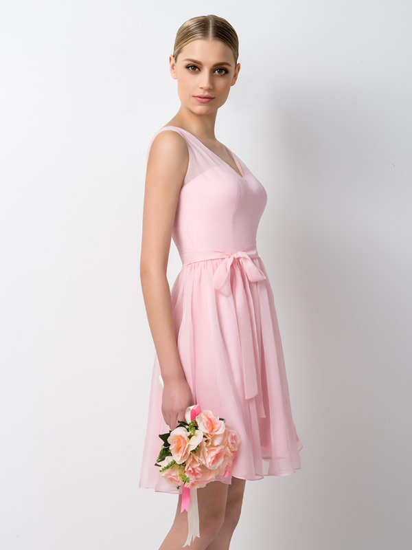 V-Neck Straps Short Bridesmaid Dress