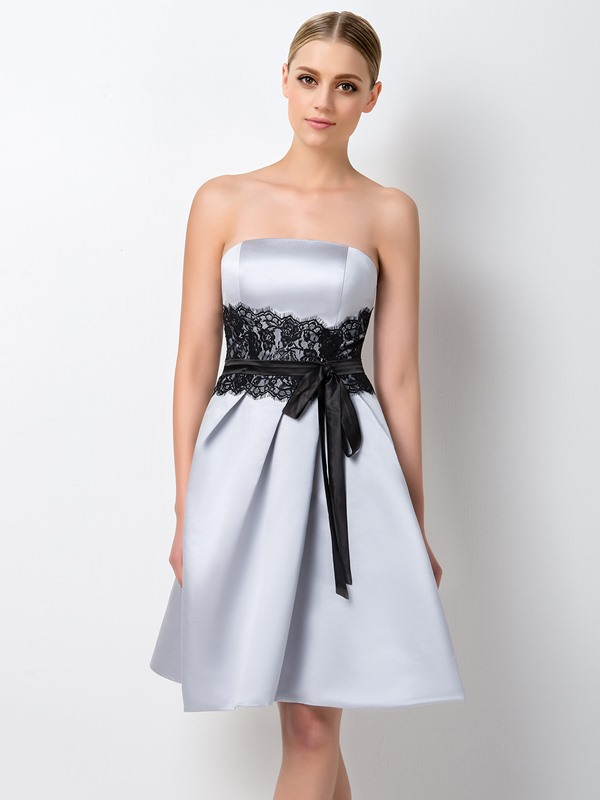 Elegant Strapless Short A-Line Gray Bridesmaid Dress