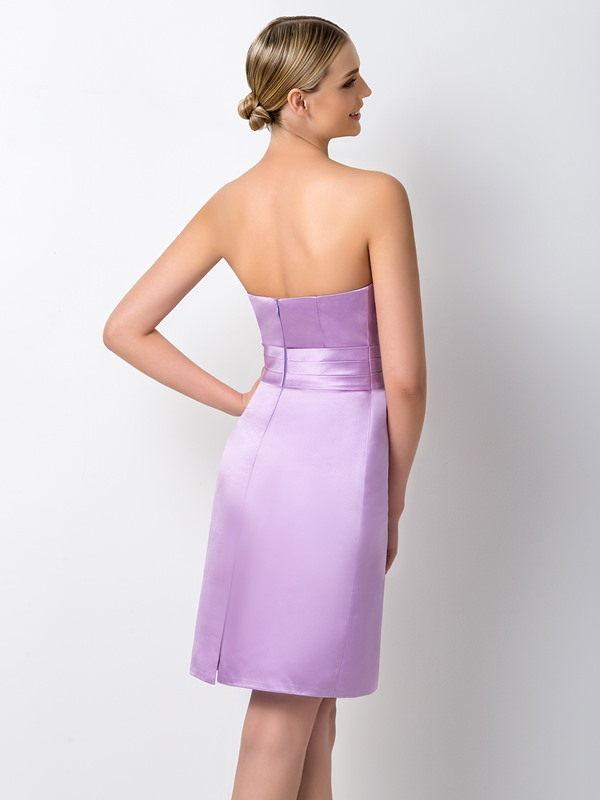 Concise Strapless Sheath Short Purple Bridesmaid Dress