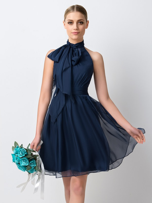 Charming Pleated Halter A-Line Short Bridesmaid Dress