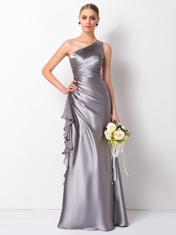 Pleated Ruffles One Shoulder Bridesmaid Dress