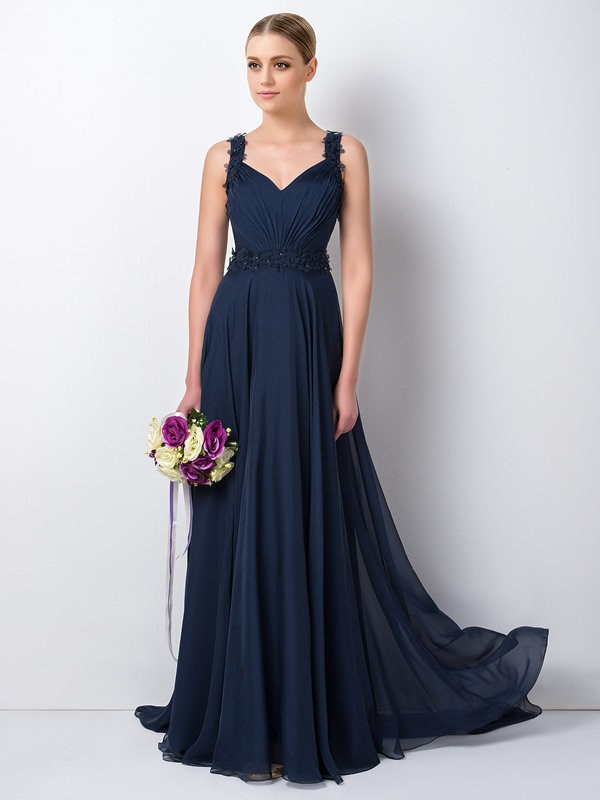 Charming Beaded Floral Straps Blue Long Bridesmaid Dress(Free Shipping)