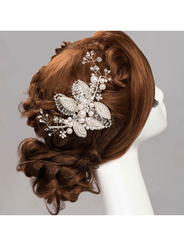 Glamorous Pearls Decorated Rhinestone Wedding Headpiece