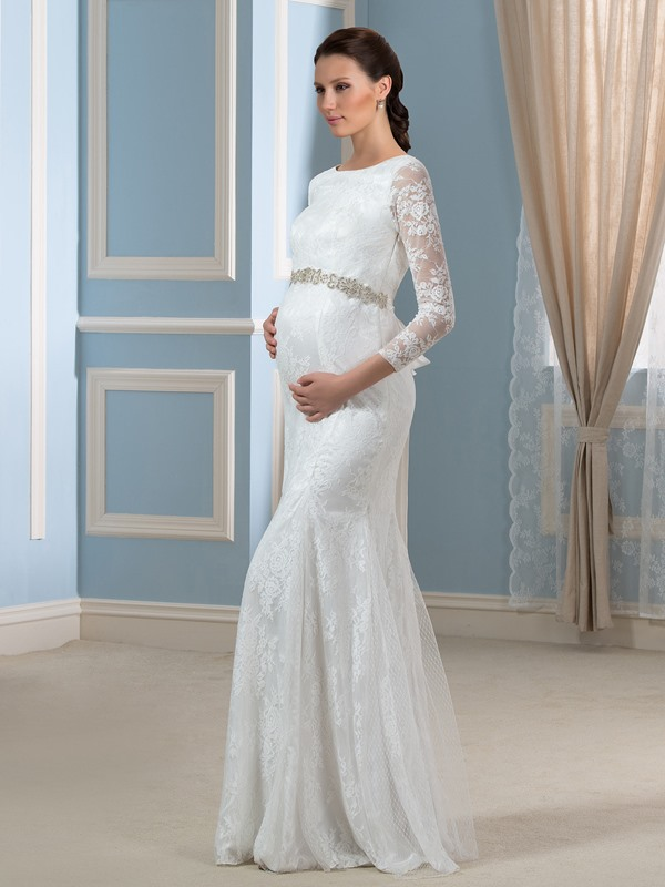 3/4 Length Sleeve Lace Pregnant Wedding Dress