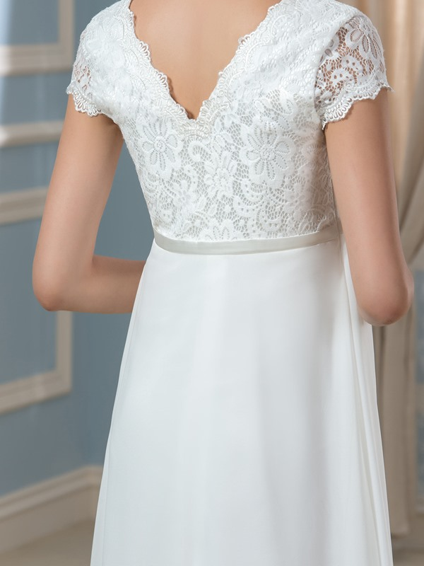 Lace Crystal Brooch Empire Waist V-Neck A-Line Pregnant Wedding Dress