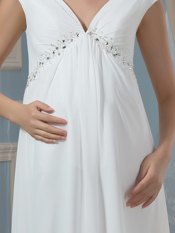 V-Neck Empire Waist Beading Maternity Wedding Dress