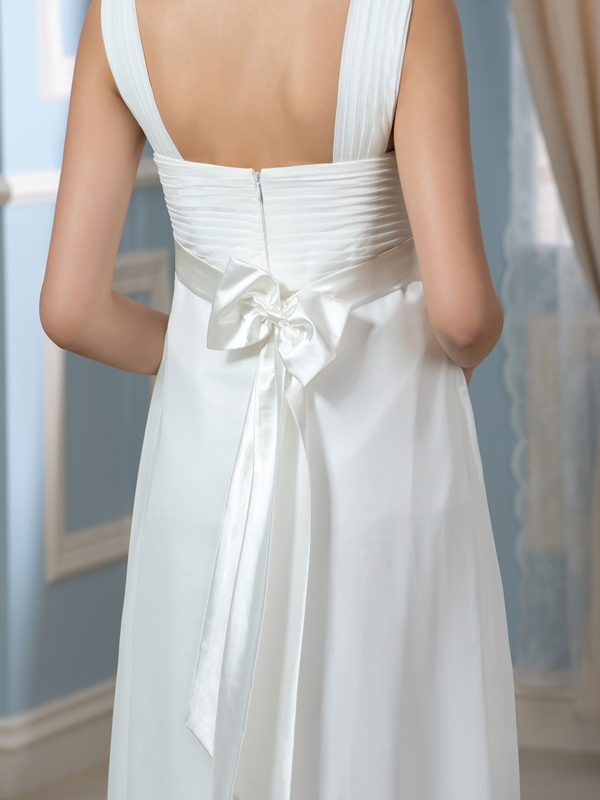 Beading V-Neck Floor-Length Empire Waist Pregnant Wedding Dress