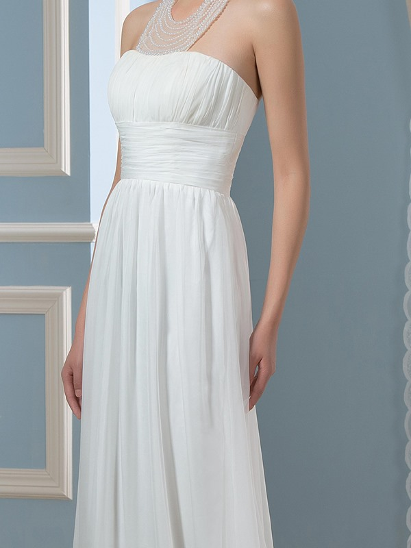 Halter Neck beaded 30D A-Line Floor-Length Pregnant Wedding Dress