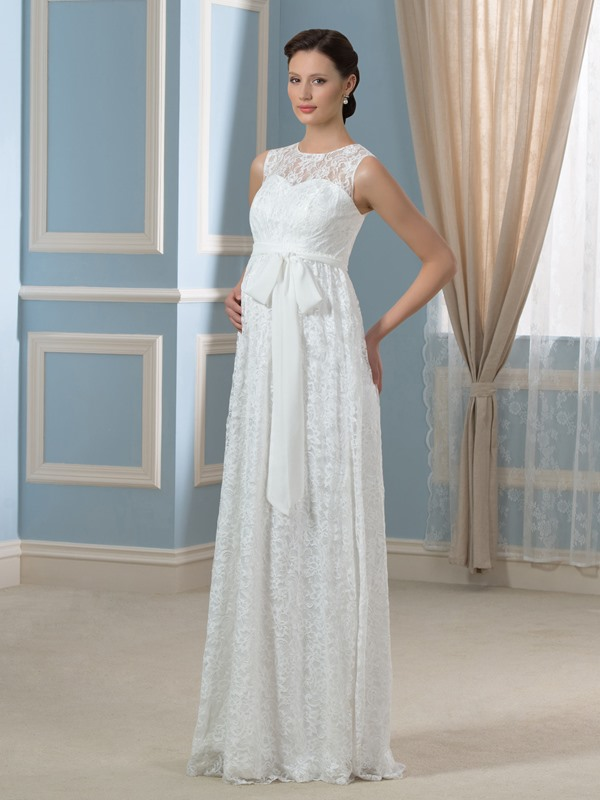 Scoop Neckline Empire Waist Lace Pregnant Floor-Length Wedding Dress