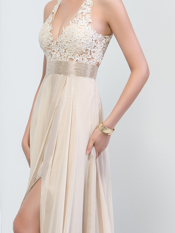 Sexy Backless Halter Lace Beaded Split-Front Long Prom Dress