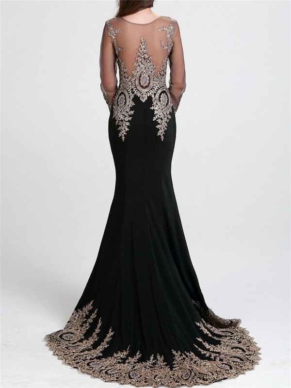 Sheer Back Long Sleeves Mermaid Black Appliques Long Evening Dress(Free Shipping)