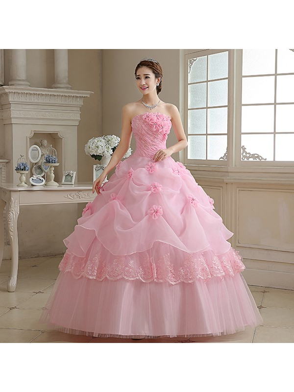Strapless Flowers Appliques Pearls Quinceanera Dress