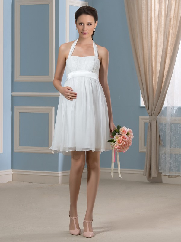Halter Knee-Length Beach Pregnant Wedding Dress