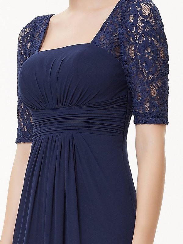 Square Neck Lace Sleeve Mother of the Bride Dress